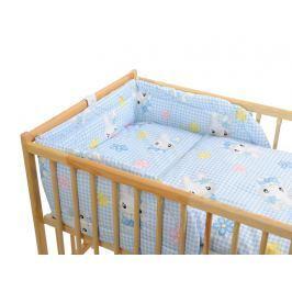 ANTONY FASHION - Třídílná sada - povlečení + mantinel (modro-bílá) - Kočička, velikost: 120x90 (přikrývka) + 40x60 (polštář)