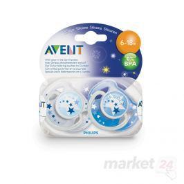 AVENT - Dudlík silikonový noční 6-18 měsíců / 2 ks Produkty
