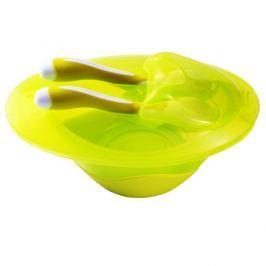 BABY ONO - Miska uzavíratelná se lžičkou a vidličkou bez přísavky - žluto-zelená