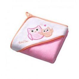 BABY ONO - Osuška s kapucí Velour 100x100 - pink