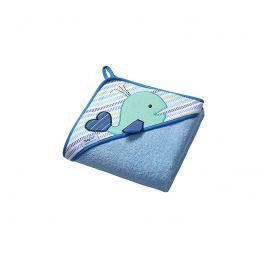 BabyOno - Osuška s kapucí - froté 100x100 Velryba - Modrá