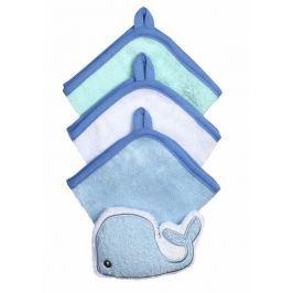 BABYONO - Souprava 3 mycích utěrek s houbičkou - modrá