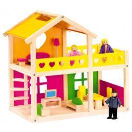 BINO - 83553 Dřevěný domeček pro panenky se zařízením