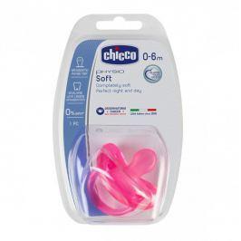 CHICCO - Cumlík celosilikónový Physio Soft ružová 0-6m