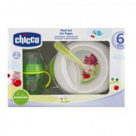 Chicco - Jídelní set - talíř, lžička, sklenka, 6m +