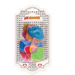 EASY - Dekorativní pěnové nálepky - MIX barev 12 třpytivých srdíček + 12 puntikatých