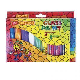 EASY - Barvy na sklo GLASS PAINT- sada 8 barev + 2  kontury x 10,5 ml