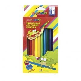 EASY - Trojhranné pastelky JUMBO 12 ks s ořezávátkem nelámavé