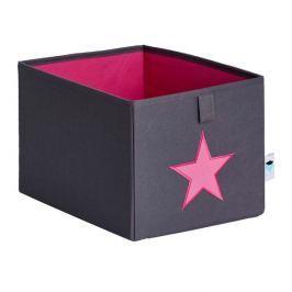 LOVE IT STORE IT - Malý box na hračky - šedý, růžová hvězda
