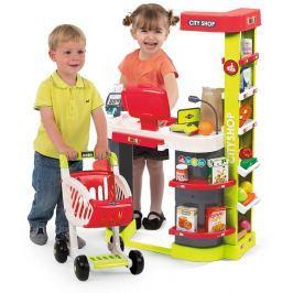 SMOBY - 350211 Obchod City shop s čtečkou karet a vozíkem zeleno-červený