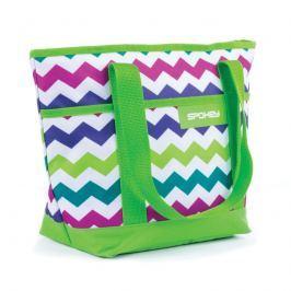 SPOKEY - ACAPULCO Plážová termo taška malá zelená zigzag 36 x 15 x 27 cm