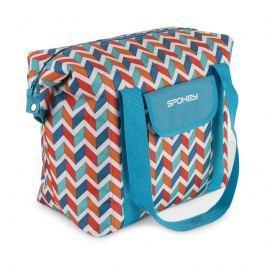 SPOKEY - SAN REMO Plážová termo taška, modrá zigzag, 52 x 20 x 40 cm