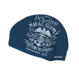 SPOKEY - STYLO  plavecká čepice modrá bílé nápisy