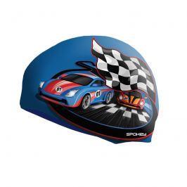 SPOKEY - STYLO Junior Dětská plavecká čepice modrá závodní auto