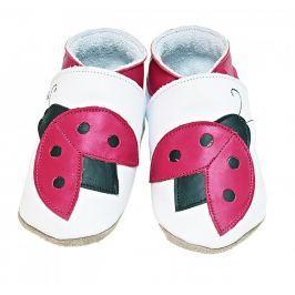 Starchild - Kožené botičky - Ladybug White - velikost S (0-6 měsíců)