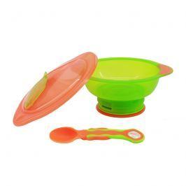 VITAL BABY - Miska s Přísavkový nohou Unbelievabowl - s víkem a lžičkou - oranžovo-zelená