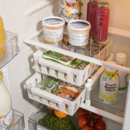 Regál s 2 košíky do lednice, bílý