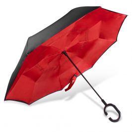 Obrácený deštník s dvojitým potahem, červeno černý