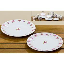 Porcelánové talířky s motivem růže, 6 kusů