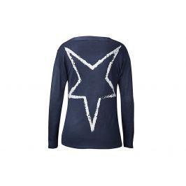 Dlouhý jemný svetr s šálovým límcem, tmavě modrý, vel. S