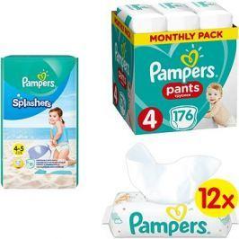 PAMPERS Pants vel. 4 (176 ks) + PAMPERS Splashers vel. 4 (11 ks), + PAMPERS Sensitive (12× 56 ks)
