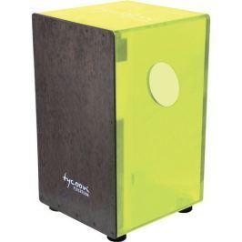 Tycoon Acrylic Neon Green Body Cajon Black Makah Burl Frontplate