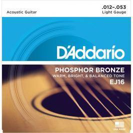 D'Addario EJ16 Phosphor Bronze Light 12-53 10 Pack Struny pro akustickou kytaru .012