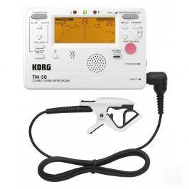 Korg TM-50C Combo Tuner Metronome + Contact Microphone White