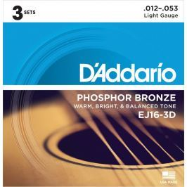 D'Addario EJ16 Phosphor Bronze Light 12-53 (3 Pack)