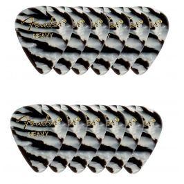 Fender 351 Shape Premium Picks Heavy Zebra 12 Count