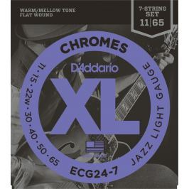 D'Addario ECG24 7 Chromes Flat Wound Jazz Light 7 strings