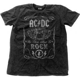 Rock Off ACDC Cannon Swig Vintage Mens Snow Wash Black T Shirt: L