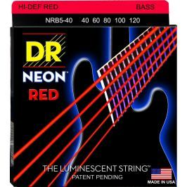 DR Strings NRB5-40 Neon Red Light 5-String