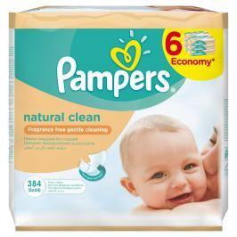 Pampers Natural Clean vlhčené ubrousky 6x64 ks