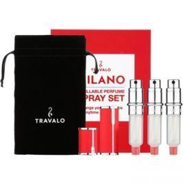 Travalo Milano dárková sada I. Red plnitelný rozprašovač parfémů 3 x 5 ml + semišový váček