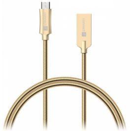 Connect IT Wirez Steel Knight MicroUSB, 1m, ocelový, opletený (CCA-3010-GD)