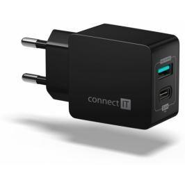 Connect IT Fast Charge 1x USB + 1x USB-C, 3,4A s funkcí rychlonabíjení (CWC-2030-BK)