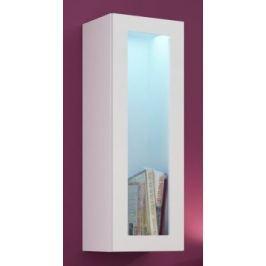 Vigo - Vitrína závěsná, 1x dveře sklo (bílá mat/bílá VL)