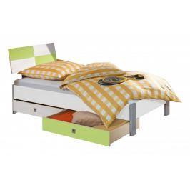 Sunny - Postel,úložný prostor, 90x200 (bílá se zeleným jablkem)
