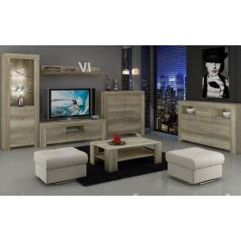 Sky - Obývací stěna, 2x komoda, RTV stolek, světlo (country šedá)