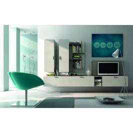 Fizzy 11 - Obývací stěna (lak mat bílá / šedá / lak lesk šedá)